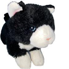 "Black and White Tuxedo Kitty Cat Plush Stuffed Animal 9"" Blue Eyes White Socks"