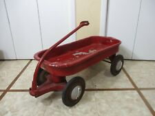 Vtg HAMILTON GREYHOUND or MURRAY ? Red Pull Aluminum Wagon Racing Handle Hubcaps