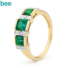Princess Diamond Emerald Eternity 9k 9ct Solid Yellow Gold 2 or 3 Stone Rings