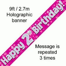 Girls Happy 2nd Birthday Party Foil Banner 2 Today Decoration Pink Banners