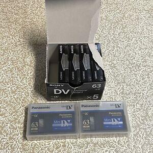 Panasonic & Sony Mini DV Tape Lot Of 6 Brand New, Sealed 63 Mins DVM63PS DVM63PQ