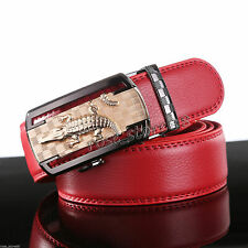 Luxury Men's Genuine Leather Red Automatic Buckle Red Waist Strap Belt Waistband