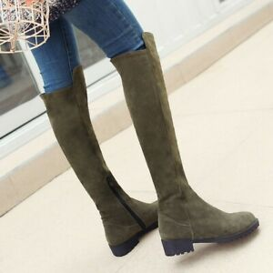 Womens Casual Suede Round Toe Zip Knee High Boots Riding Knight Heels Shoes Size