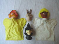 "Vintage Set Of 2 Plastic Puppets And 2 Puppet Heads "" AWESOME COLLECTABLE SET """
