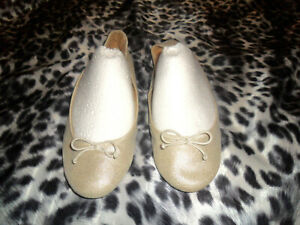 GAP Gold Glittery Rose gold Canvas Slip-On Bow Tie Ballet Shoes Flats 10 US