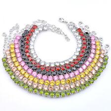 7 Pcs 1 Lot Round Rainbow Topaz Peridot Garnet Morganite Silver Charm Bracelet