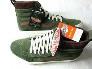 Vans Mens Sk8-Hi MTE Deep Lichen Green Root Beer Brown Skate shoes Size 9.5 NWT
