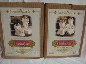 GRANDEUR NOEL 2001 PORCELAIN ANGELS TWO SETS OF TWO ANGLES  IN BOXES