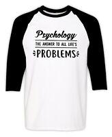 Psychology T-Shirt College Humor Psychologist Christmas Gift Funny Raglan Tee