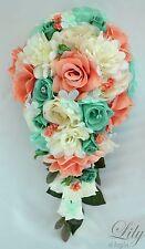 17 Piece Package Silk Flower Wedding Bridal CASCADE Bouquets CORAL POOL TIFFANY