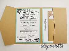 KRAFT WEDDING INVITATIONS DIY POCKETFOLD ENVELOPES BOX VINTAGE BROWN INVITE <R>