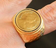 Queen Elizabeth II Coin Yellow Matte Gold 24K Plated Hammered Ring Sz 8