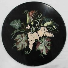 """18"""" Black Marble Table Top Dining Center Inlay Lapis Mosaic Home Decor G771"""