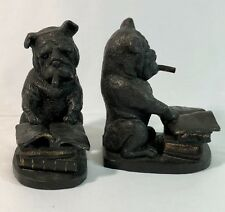 Vtg Bookends Pair Bull Dogs Smoking Cigars Reading Books Cast Iron Bonze Accents