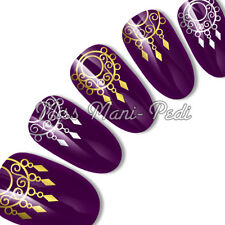 Nail Art Water Slide Transfers Decals Silver/Gold Tribal Ethnic Jewellery C072
