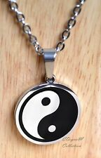 Stainless Steel Yin Yang Tai Chi Round Men Women Pendant w Chain Necklace Unique