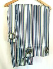 JCPenney Grommet Curtain Panel 50 x 84 Blue Green Red Striped Lined Lot of 2