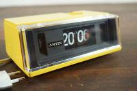 70er Vintage Klappzahlen Wecker Uhr Artin Space Age gelb in OVP Retro 60er