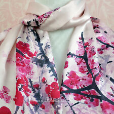 100% Silk Scarf Genuine Real Pure Mulberry Floral Long Pink Shawl Wrap Brand New
