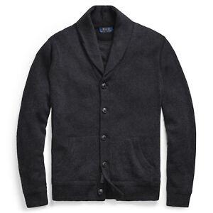 $268 NWT POLO RALPH LAUREN Men's 100% Merino Wool Shawl Cardigan Sweater Small S
