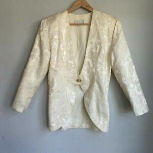 Jessica McClintock Womens Suit Jacket Blazer Ivory Floral Long Sleeve Button 12