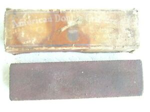 Vintage AMERICAN DOUBLE GRIT EMERY OIL STONE. Combination, In Box. Used.