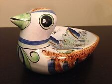 Vintage Mexican Tonala Art Pottery Dove Pigeon Bird Painted Signed Cat Statue