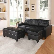 Black Leather Sectionals for sale | eBay