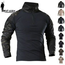 Mens Military T-Shirt Tactical Army Combat Shirt Casual Shirt Hiking Camouflage