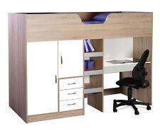 Bourne Loft High Sleeper Childrens Cabin Bed Desk Wardrobe Oak And White R1610OW