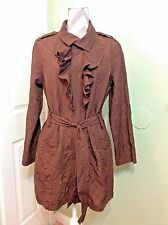 Women's Due Per Due Brown/Burgundy Ruffled Collared Zip-Up Trench Jacket Coat ~L