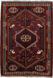 Hand-Knotted Tribal Equestrian Design 4X5 Vintage Farmhouse Rug Oriental Carpet