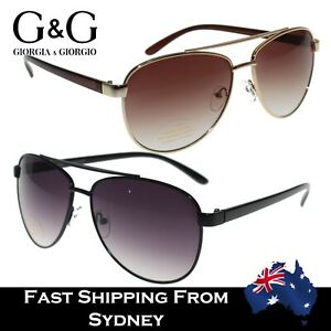 G&G Men Women Aviator Sunglasses Spring Loaded Metal Frame Smoke Brown -02039