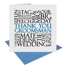 Thank You Groomsman Wedding Word Card gift present UK FREE POST