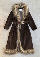 Vintage 60s 70s Penny Lane Leather Suede Fur Coat Jacket boho hippie princess