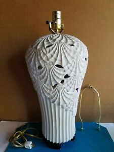 "Midcentury Reticulated Asian Shell Pattern 28"" Table Lamp Wood Base"
