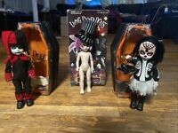 Living Dead Dolls Lot Of 3, Jingles And Calavera And Very Used Mad Hatter