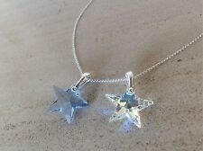 925 Sterling Silver Necklace Swarovski Elements Crystal Star Pendant Clear AB