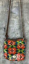 Fossil Small Floral Coated Canvas Crossbody Messenger Bag