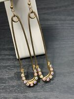 """AB crystal Large Sparkling Hip Hop Safety Pin Pierced Earring Gold 4"""""""