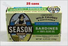 25x Season 4.375oz Boneless Skinless Sardines in Olive Oil Kosher Free Shipping