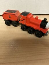 Thomas The Wooden Tank Engine Train 1992 Version 3 James With Tender Used Rare