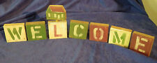 """Welcome Wood Wooden Blocks Sign Home Decor 2 3/4"""" x 2 3/4"""""""