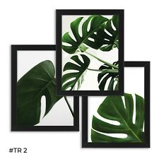 3 x Botanical Prints Leaf Palms Canvas Pictures Black Frame Framed Wall ART A4