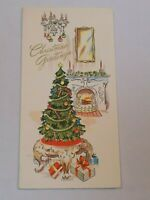 Christmas Greeting Card Old Vintage Tall Treasure Fireplace Gold Flock Tree USA