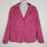 Studio Works Womens Size 12 Jacket Blazer Pink Suede Lined 3 Button Polyester