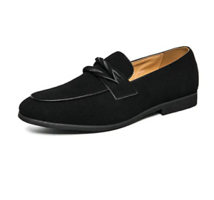 Chic Men's Formal Wedding Slion On Loafer Casual Flat Faux Suede Shoes Sz 38/46
