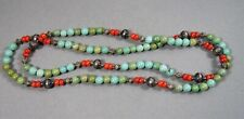 Vintage Tibetan Turquoise Coral Sterling Silver Bead Necklace