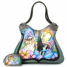 Anuschka Leather Double Handled LG Tote Bag w/ Coin Pouch Cats In Wonderland NWT