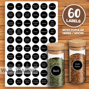 60 x Spice / Herb Jar Labels Storage Stickers Decals Kitchen Home Cooking - 30mm